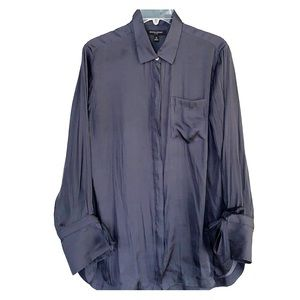 EUC navy Banana Republic silk-like shirt